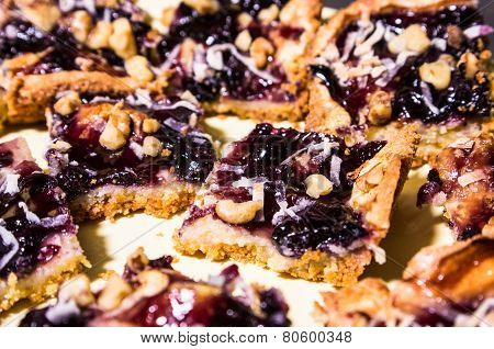 Blueberry Crumble Sliced And Stacked On A Plate