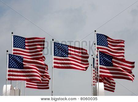 Patriotic Flying U.S. Flags