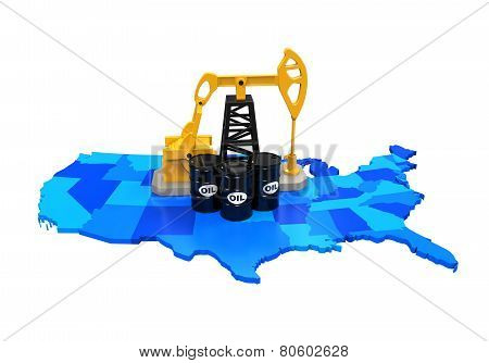 Oil Pump and Oil Barrels on United States Map