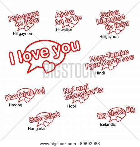 Word I Love You In Different Languages, Love Concep