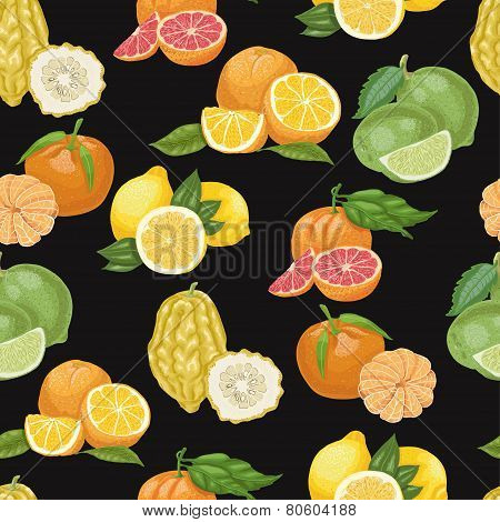Seamless Pattern With Citrus Fruit On Black Background