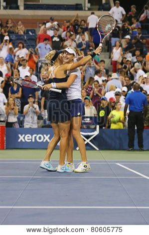 US Open 2014 women doubles champions Ekaterina Makarova and Elena Vesnina celebrate victory