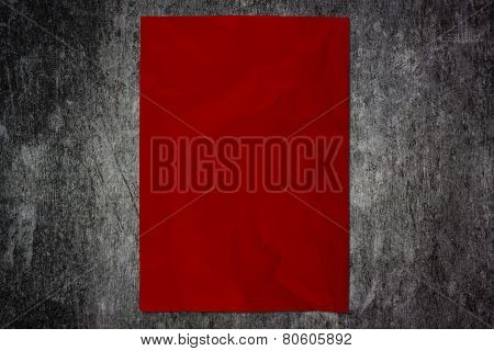 Red Paper On Wooden Wall