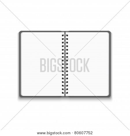 Vector Realistic Blank Open Notebook