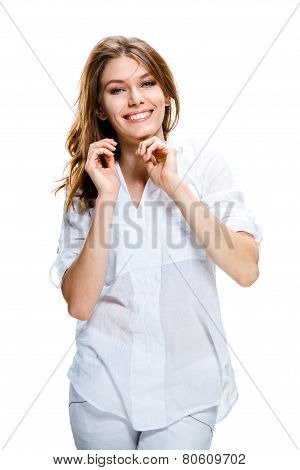 Portrait of attractive caucasian toothy smiling woman with long brown hair