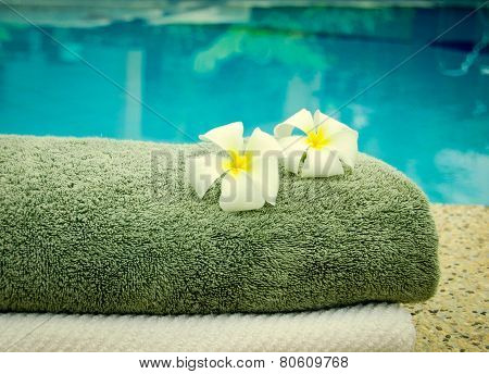Spa Towels Near The Swiming Pool