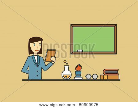 Teacher With School Objects. Flat Design Style