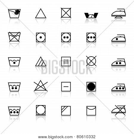 Fabric Care Sign And Symbol Icons With Reflect On White Background