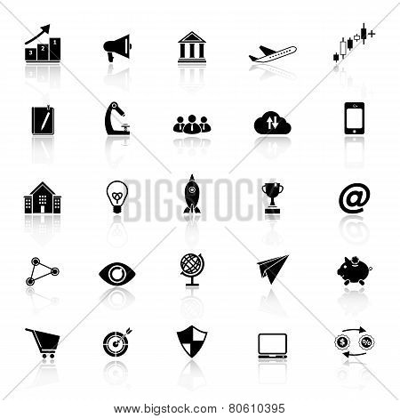 Startup Business Icons With Reflect On White Background