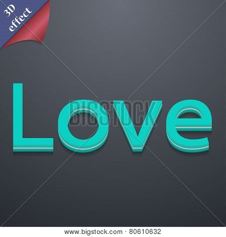 Love You Icon Symbol. 3D Style. Trendy, Modern Design With Space For Your Text Vector