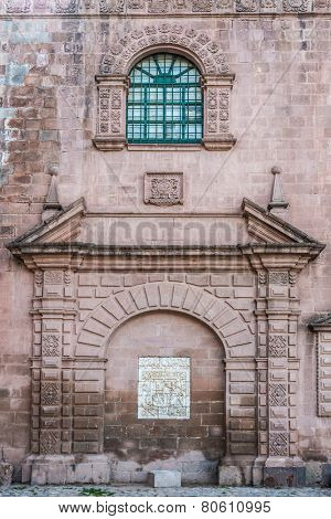 facade details of Iglesia del Triunfo in the peruvian Andes at Cuzco Peru