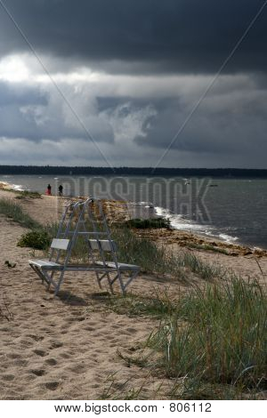 Stormy sky and beach