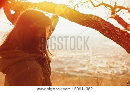 Traveler Woman Looking At The City From Hill