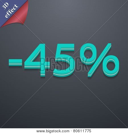 45 Percent Discount Icon Symbol. 3D Style. Trendy, Modern Design With Space For Your Text Vector