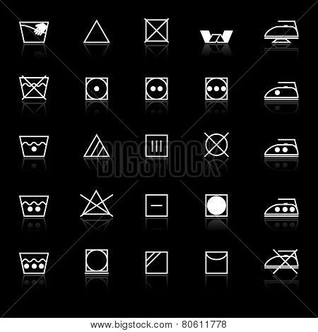 Fabric Care Sign And Symbol Icons With Reflect On Black Background