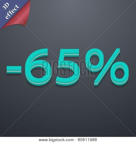 65 Percent Discount Icon Symbol. 3D Style. Trendy, Modern Design With Space For Your Text Vector