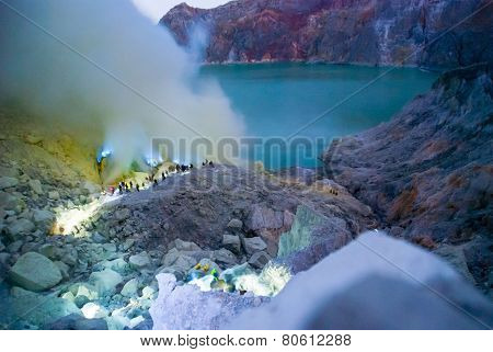Blue Fire At Kawah Ijen Crater, Indonesia