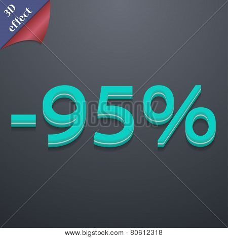 95 Percent Discount Icon Symbol. 3D Style. Trendy, Modern Design With Space For Your Text Vector