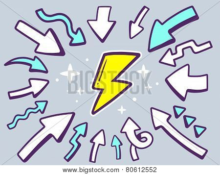 Illustration Of Arrows Point To Icon Of Lightning On Gray Background.