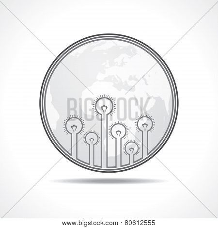 Light - bulb  background with earth stock vector
