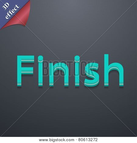 Finish Icon Symbol. 3D Style. Trendy, Modern Design With Space For Your Text Vector