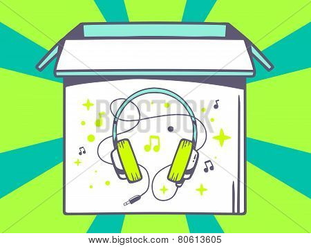 Illustration Of Open Box With Icon Of  Headphones On Green Pattern Background.