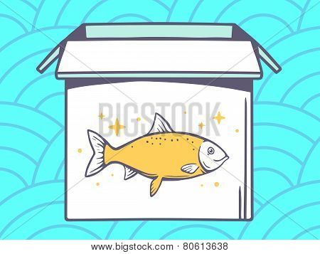 Illustration Of Open Box With Icon Of  Fish On Blue Pattern Background.