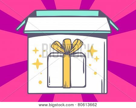 Illustration Of Open Box With Icon Of  Gift Box On Pink Pattern Background.