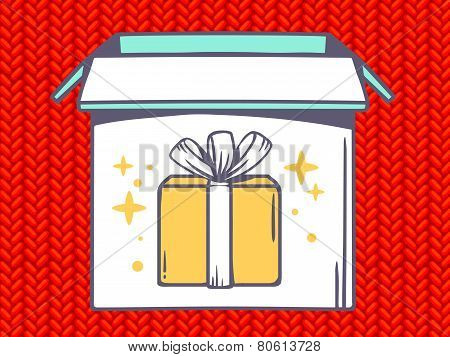 Illustration Of Open Box With Icon Of  Gift Box On Red Jersey Pattern Background.