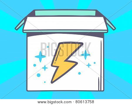 Illustration Of Open Box With Icon Of  Lightning On Blue Pattern Background.
