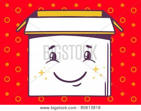 Illustration Of Open Box With Icon Of  Smile On Red Pattern Background