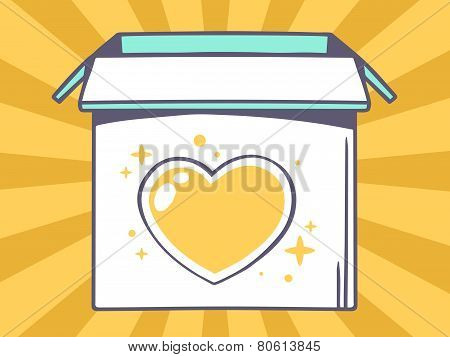 Illustration Of Open Box With Icon Of  Heart On Yellow Pattern Background.