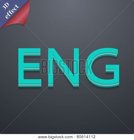 English Icon Symbol. 3D Style. Trendy, Modern Design With Space For Your Text Vector