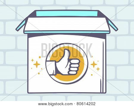 Illustration Of Open Box With Icon Of  Thumb Up On Grey Brick Pattern Background.