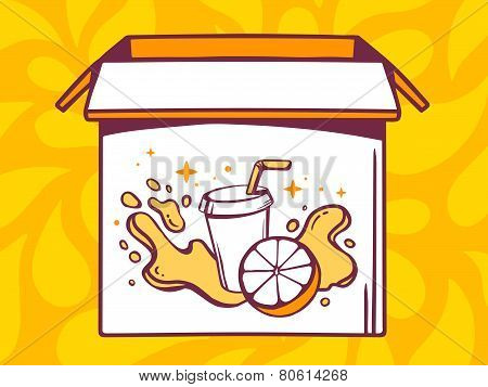 Illustration Of Open Box With Icon Of  Fresh Fruit Juice On Yellow Pattern Background.