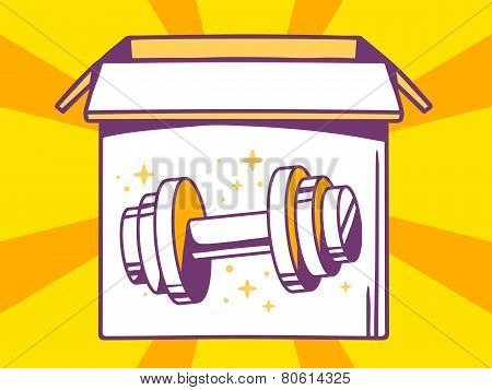 Illustration Of Open Box With Icon Of  Dumbbell On Yellow Pattern Background.