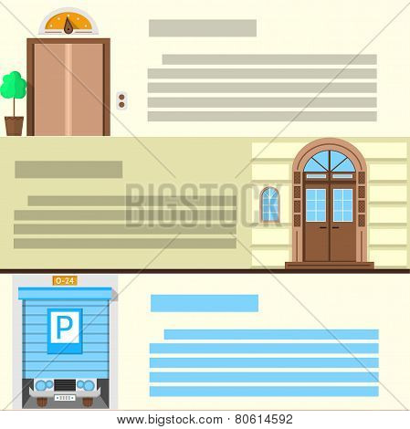 Flat color vector icons set for entrance