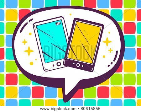 Illustration Of Speech Bubble With Icon Of Phones On Color Pattern Background.