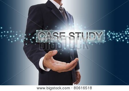 Businessman hand showing case study button