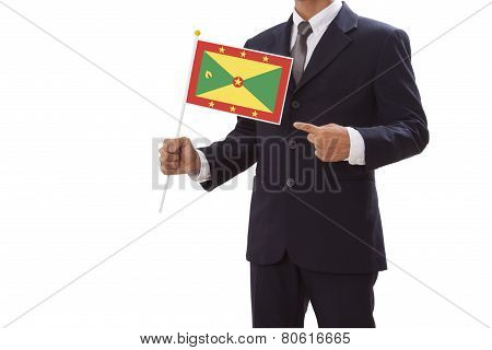 Businessman holding with Grenada Flag
