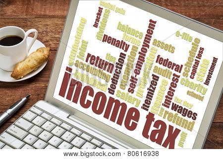 income tax word cloud on a laptop screen with a cup of coffee