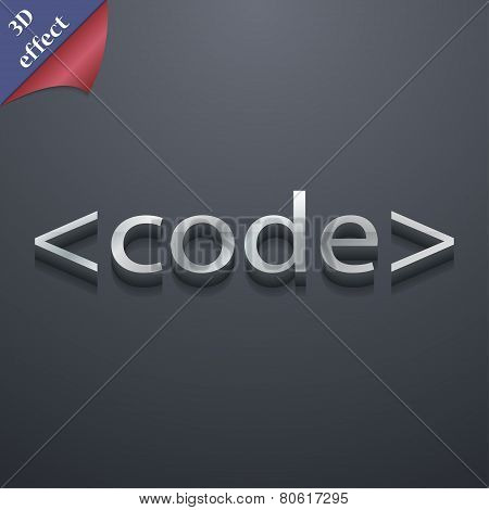 Code Icon Symbol. 3D Style. Trendy, Modern Design With Space For Your Text Vector