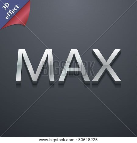 Maximum Icon Symbol. 3D Style. Trendy, Modern Design With Space For Your Text Vector