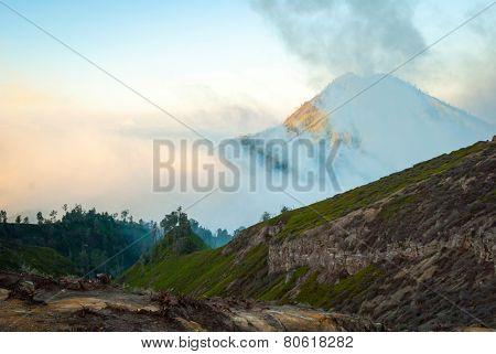 Volcanic Landscape Of Kawah Ijen In Morning Dawn, Indonesia