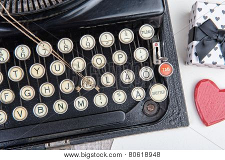 Old Typewriter With A Jewel For Valentine Day