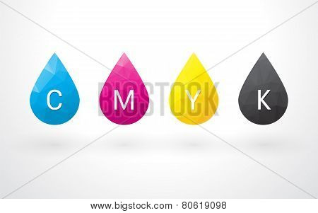 Beautiful Color Cmyk Drops With A Triangle And Label
