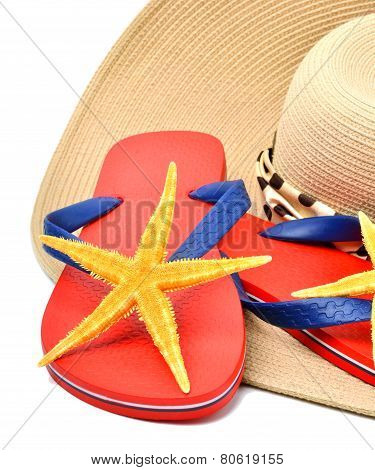 Red Flip Flops With Starfishes, Sunglasses  And A Seashell Isolated On Whit