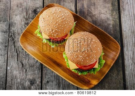 mini hamburger with cutlet cheese and tomato