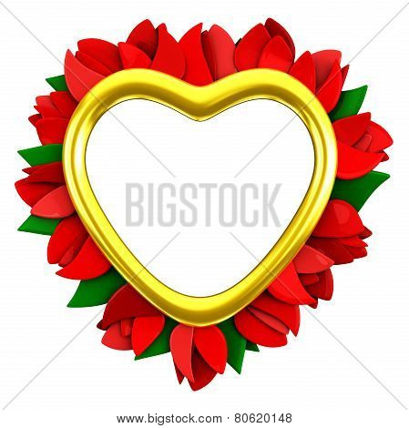 Golden heart frame with flowers, 3d