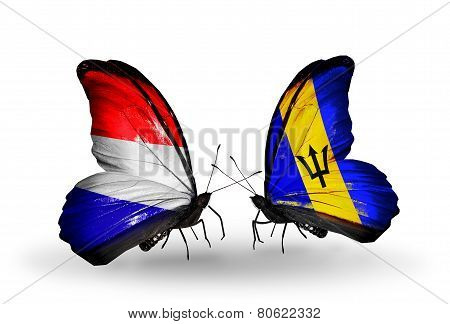 Two Butterflies With Flags On Wings As Symbol Of Relations Holland And Barbados